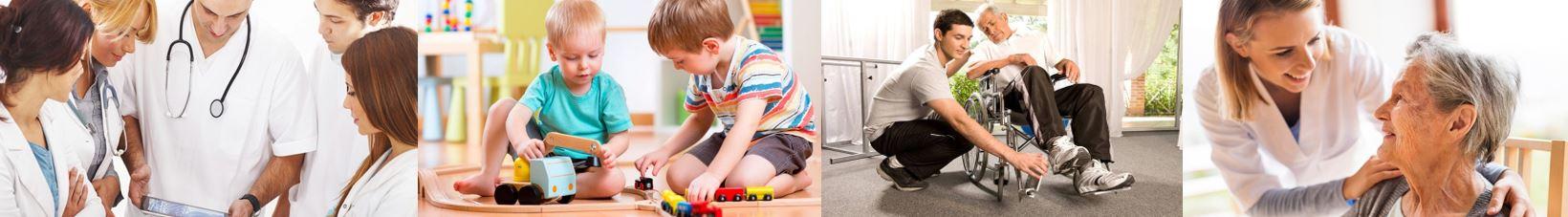 Parcours & Sens-Photos bandeau des 4 secteurs - Sanitaire-Personnes-âgées-Petite enfance-Handicap