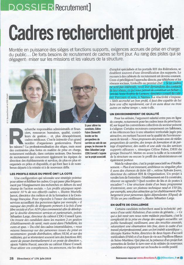Parcours et sens - Article magazine direction - Juin 2019